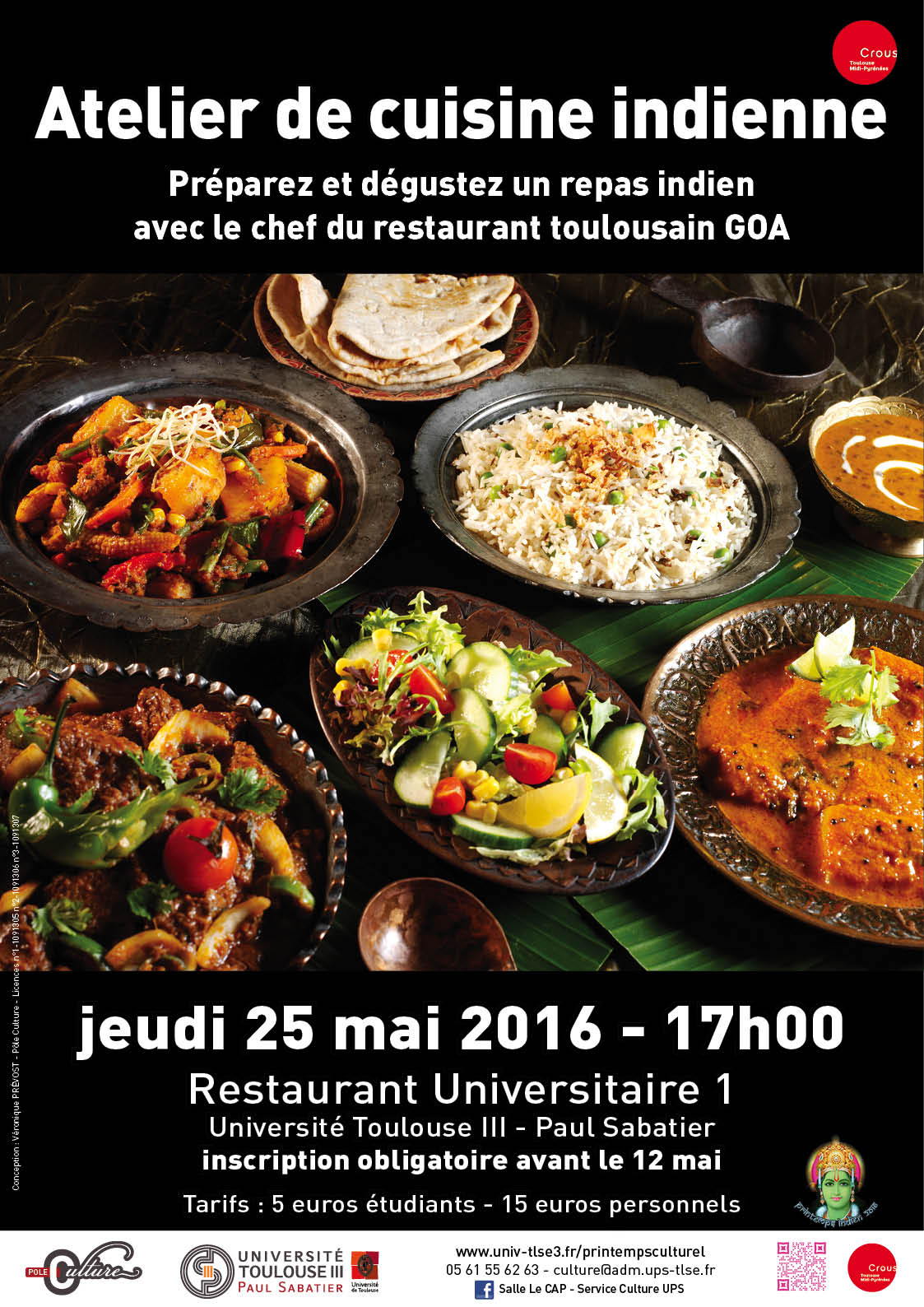 Universit toulouse iii paul sabatier printemps indien for Atelier cuisine toulouse