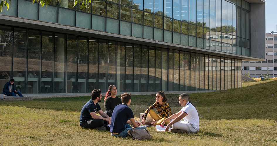 Etudiants assis dans l'herbe devant la BU