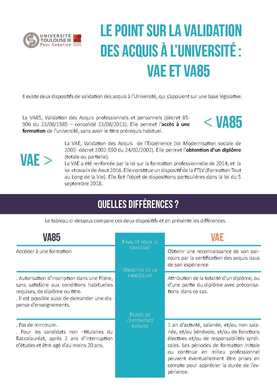 fiche comparative VAE 1